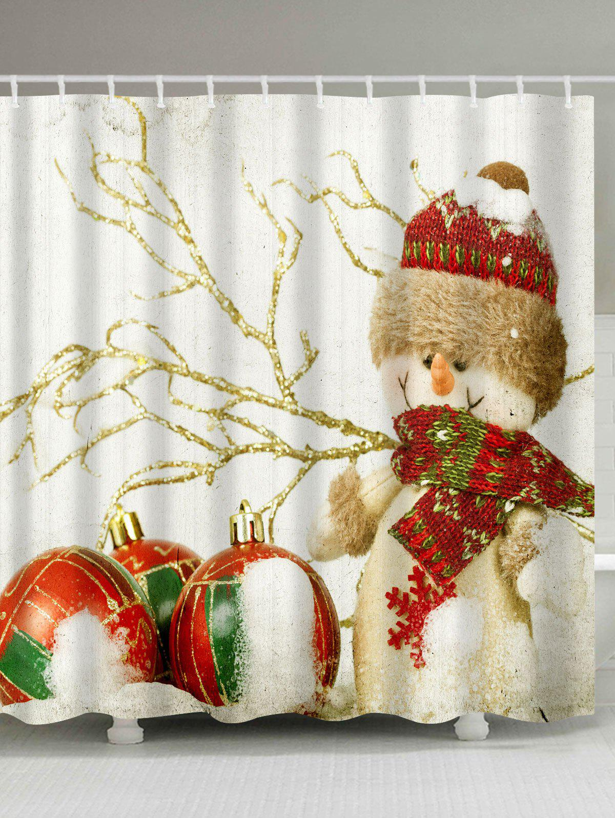 Christmas Snowman Print Fabric Waterproof Bathroom Shower CurtainHOME<br><br>Size: W71 INCH * L79 INCH; Color: COLORMIX; Products Type: Shower Curtains; Materials: Polyester; Pattern: Face,Print; Style: Festival; Number of Hook Holes: W59 inch*L71 inch: 10; W71 inch*L71 inch: 12; W71 inch*L79 inch: 12; Package Contents: 1 x Shower Curtain 1 x Hooks (Set);