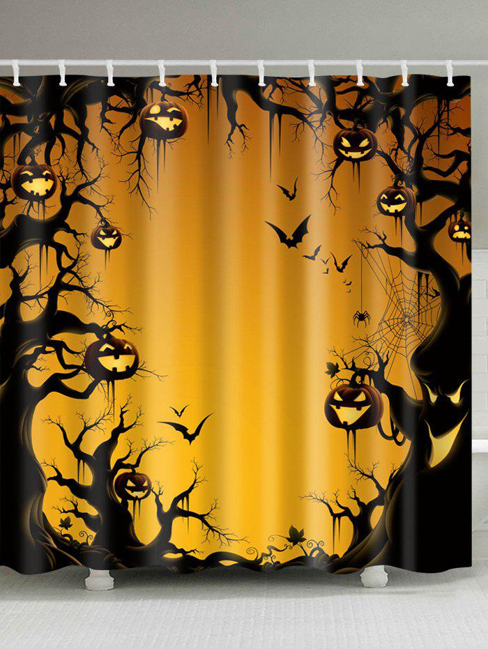 Halloween Trees Pumpkin Print Fabric Waterproof Bathroom Shower CurtainHOME<br><br>Size: W59 INCH * L71 INCH; Color: PEARL KUMQUAT; Products Type: Shower Curtains; Materials: Polyester; Pattern: Pumpkin; Style: Festival; Number of Hook Holes: W59 inch*L71 inch: 10; W71 inch*L71 inch: 12; W71 inch*L79 inch: 12; Package Contents: 1 x Shower Curtain 1 x Hooks (Set);