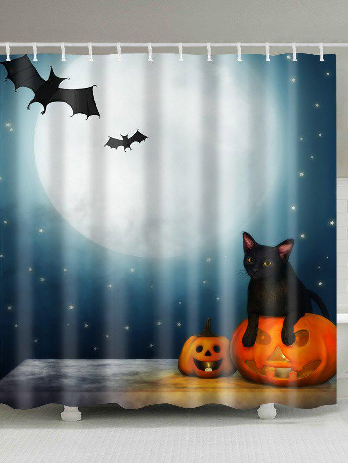 Halloween Moon Night Print Fabric Waterproof Bathroom Shower CurtainHOME<br><br>Size: W71 INCH * L79 INCH; Color: COLORMIX; Products Type: Shower Curtains; Materials: Polyester; Pattern: Animal,Moon,Pumpkin; Style: Festival; Number of Hook Holes: W59 inch*L71 inch: 10; W71 inch*L71 inch: 12; W71 inch*L79 inch: 12; Package Contents: 1 x Shower Curtain 1 x Hooks (Set);