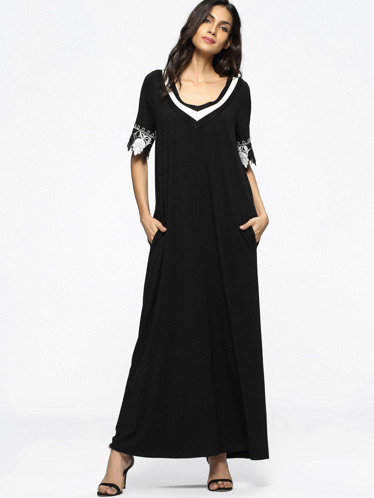 Latest Contrasting Patched Loose Maxi Dress