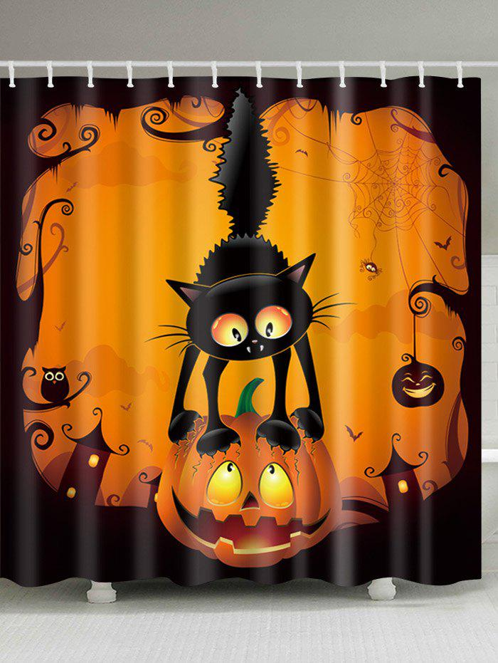 Halloween Pumpkin Cat Print Fabric Waterproof Bathroom Shower CurtainHOME<br><br>Size: W71 INCH * L79 INCH; Color: COLORMIX; Products Type: Shower Curtains; Materials: Polyester; Pattern: Animal,Pumpkin; Style: Festival; Number of Hook Holes: W59 inch*L71 inch: 10; W71 inch*L71 inch: 12; W71 inch*L79 inch: 12; Package Contents: 1 x Shower Curtain 1 x Hooks (Set);