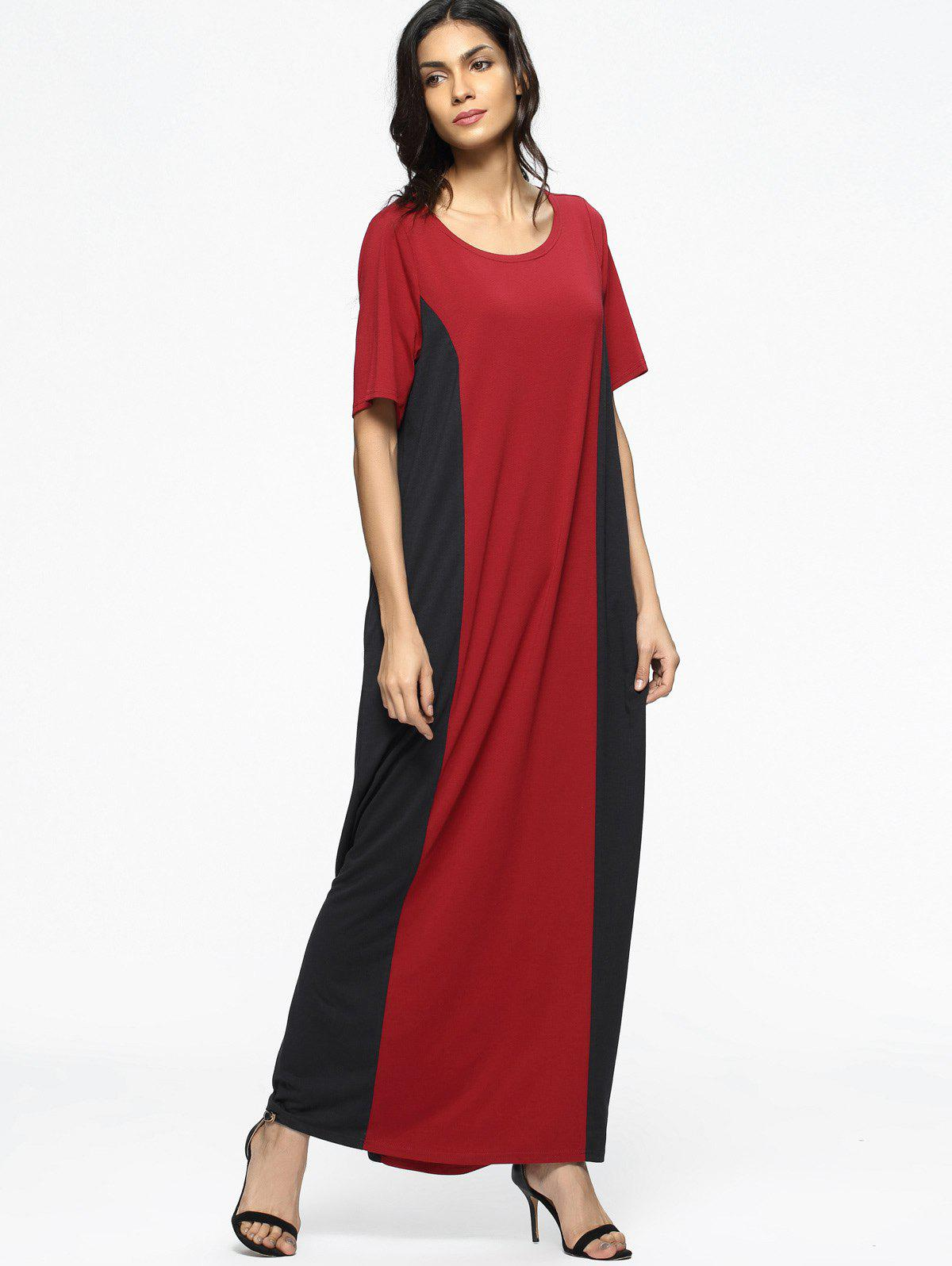 Hot Two Tone Casual Tee Maxi Dress