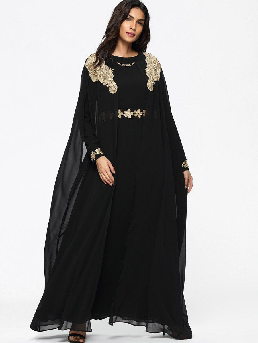 Chic Cape Embroidered Long Sleeve Maxi Dress