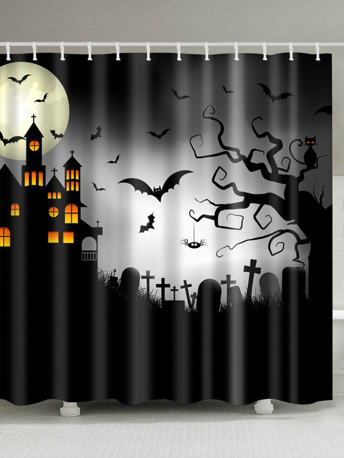 Halloween Castle Cemetery Print Fabric Waterproof Bathroom Shower CurtainHOME<br><br>Size: W71 INCH * L79 INCH; Color: BLACK; Products Type: Shower Curtains; Materials: Polyester; Pattern: Animal,Moon; Style: Festival; Number of Hook Holes: W59 inch*L71 inch: 10; W71 inch*L71 inch: 12; W71 inch*L79 inch: 12; Package Contents: 1 x Shower Curtain 1 x Hooks (Set);