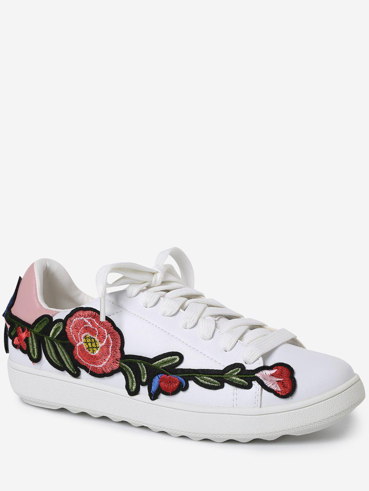 Fashion Embroidery Round Toe Faux Leather Sneakers