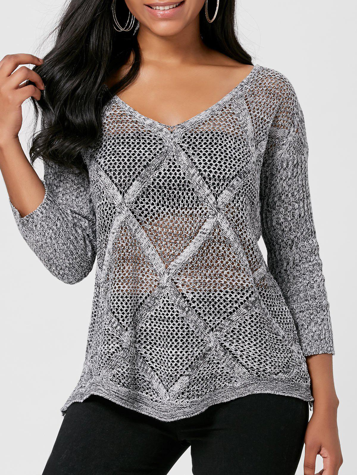 Discount Marled V Neck Openwork Sweater