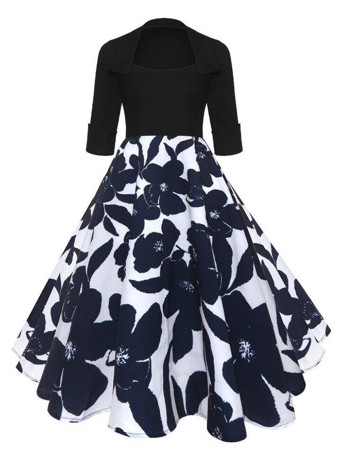 Midi Vintage Floral A Line DressWOMEN<br><br>Size: M; Color: BLUE AND WHITE; Style: Vintage; Material: Polyester; Silhouette: A-Line; Dresses Length: Mid-Calf; Neckline: Scoop Neck; Sleeve Length: 3/4 Length Sleeves; Pattern Type: Floral; With Belt: No; Season: Fall,Spring; Weight: 0.3500kg; Package Contents: 1 x Dress;