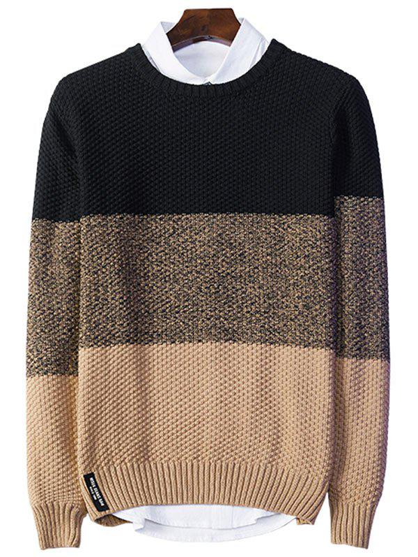 Best Crew Neck Popcorn Knitted Color Block Sweater