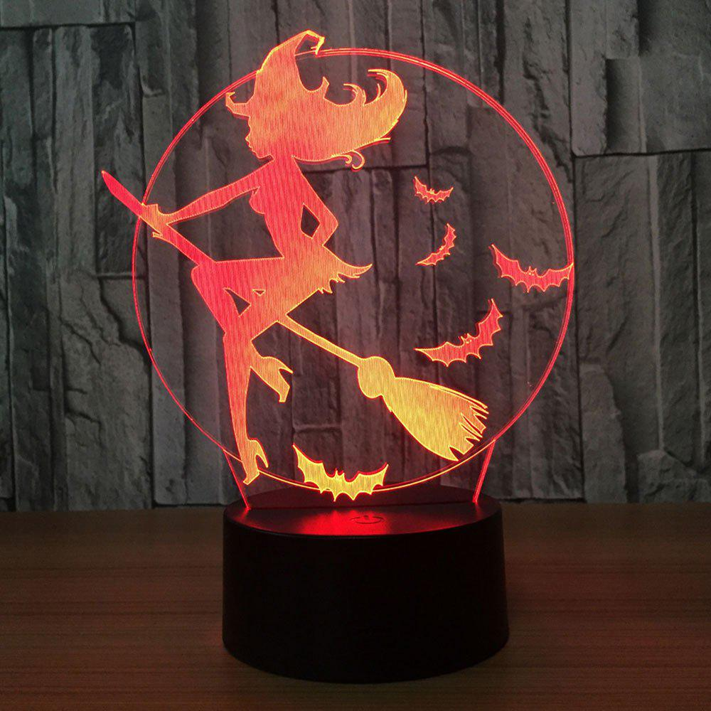 7 Colors Change Halloween Witch Bat Night LightHOME<br><br>Color: TRANSPARENT; Products Type: Novelty Lighting; Materials: Acrylic, ABS; Style: Novelty; Occasion: Bedroom,Halloween,Home,KTV,Party Supplies; Weight: 0.3300kg; Package Contents: 1 x Lamp Base 1 x Acrylic Plate 1 x USB Cable;