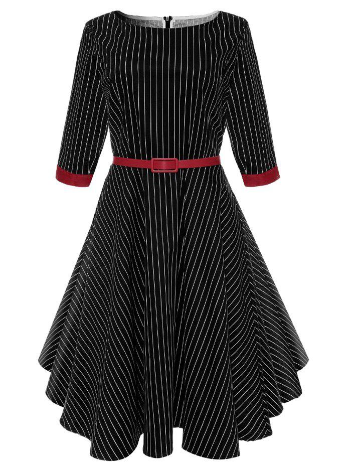 Shop A Line Vintage Pinstriped Belted Dress