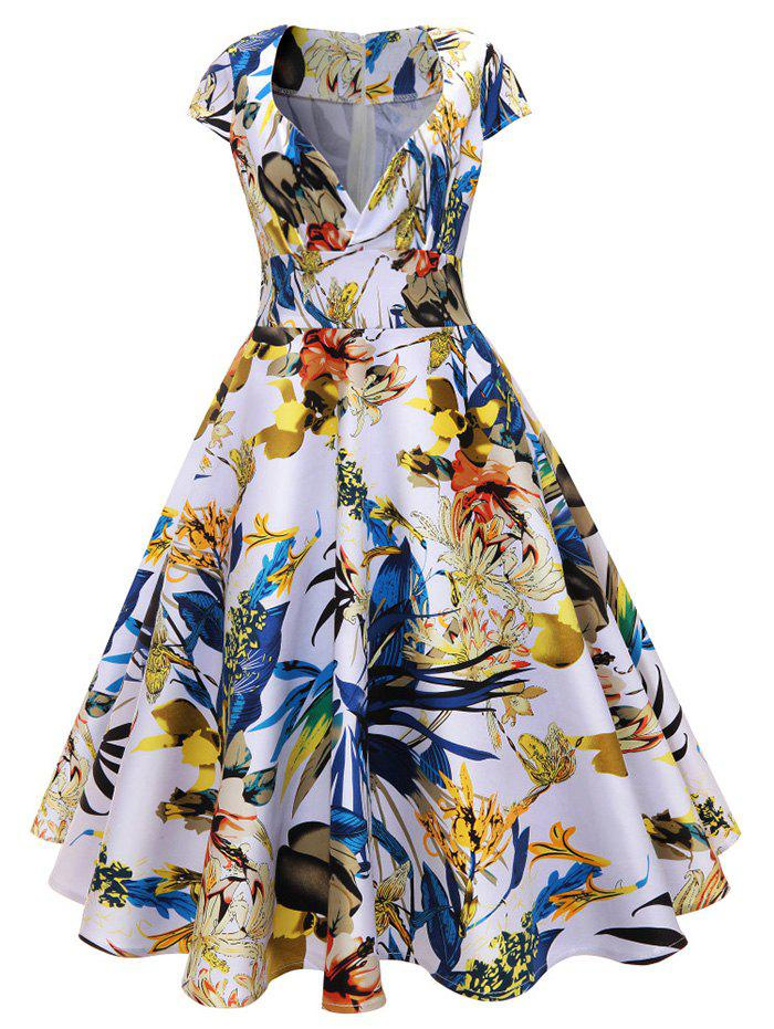 Chic Midi Vintage Floral Surplice A Line Dress