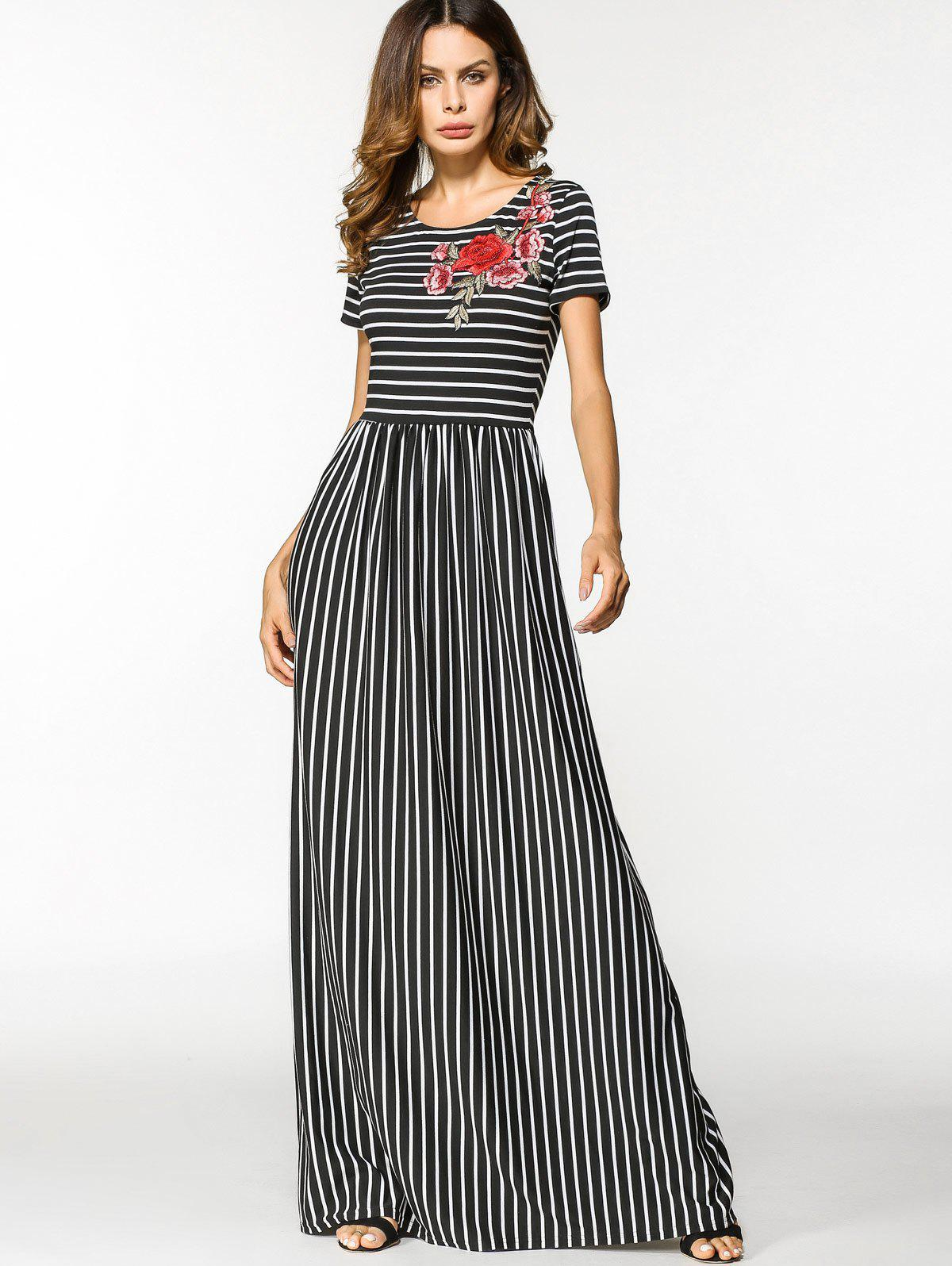 Buy Floral Embroidered Patched Stripes Maxi Dress