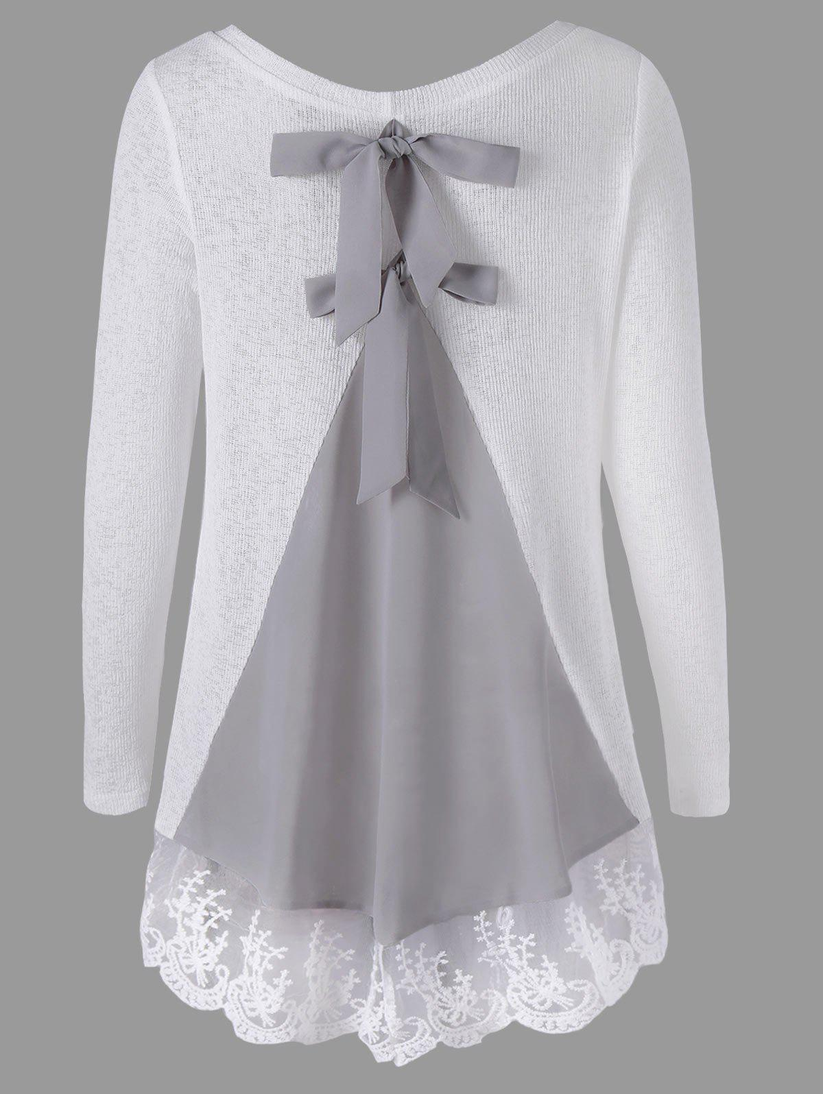 Hot Long Sleeve Back Bowknot Lace Panel Knit Top