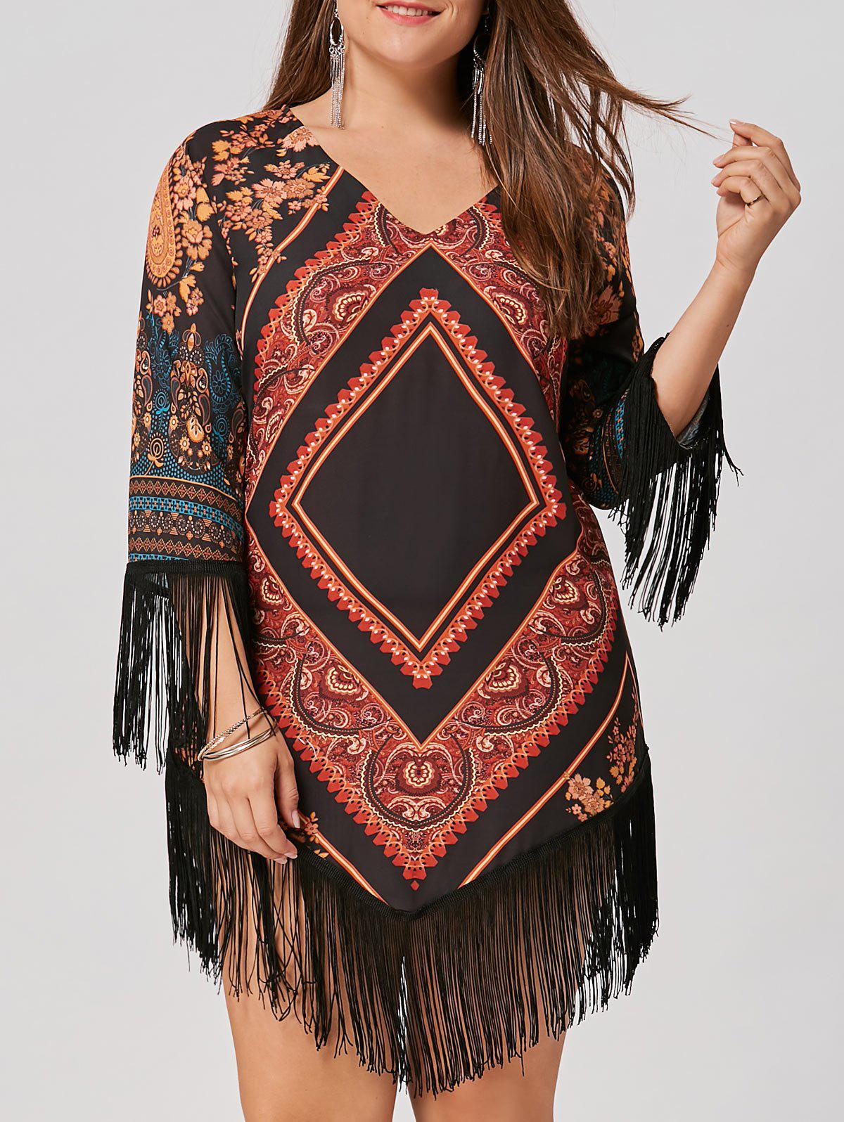 Chiffon Tassel Plus Size Tribal Printed DressWOMEN<br><br>Size: 3XL; Color: FLORAL; Style: Casual; Material: Polyester; Fabric Type: Chiffon; Silhouette: A-Line; Dresses Length: Knee-Length; Neckline: V-Neck; Sleeve Length: 3/4 Length Sleeves; Embellishment: Tassel; Pattern Type: Argyle,Geometric,Tribal Print; With Belt: No; Season: Fall; Weight: 0.2800kg; Package Contents: 1 x Dress;