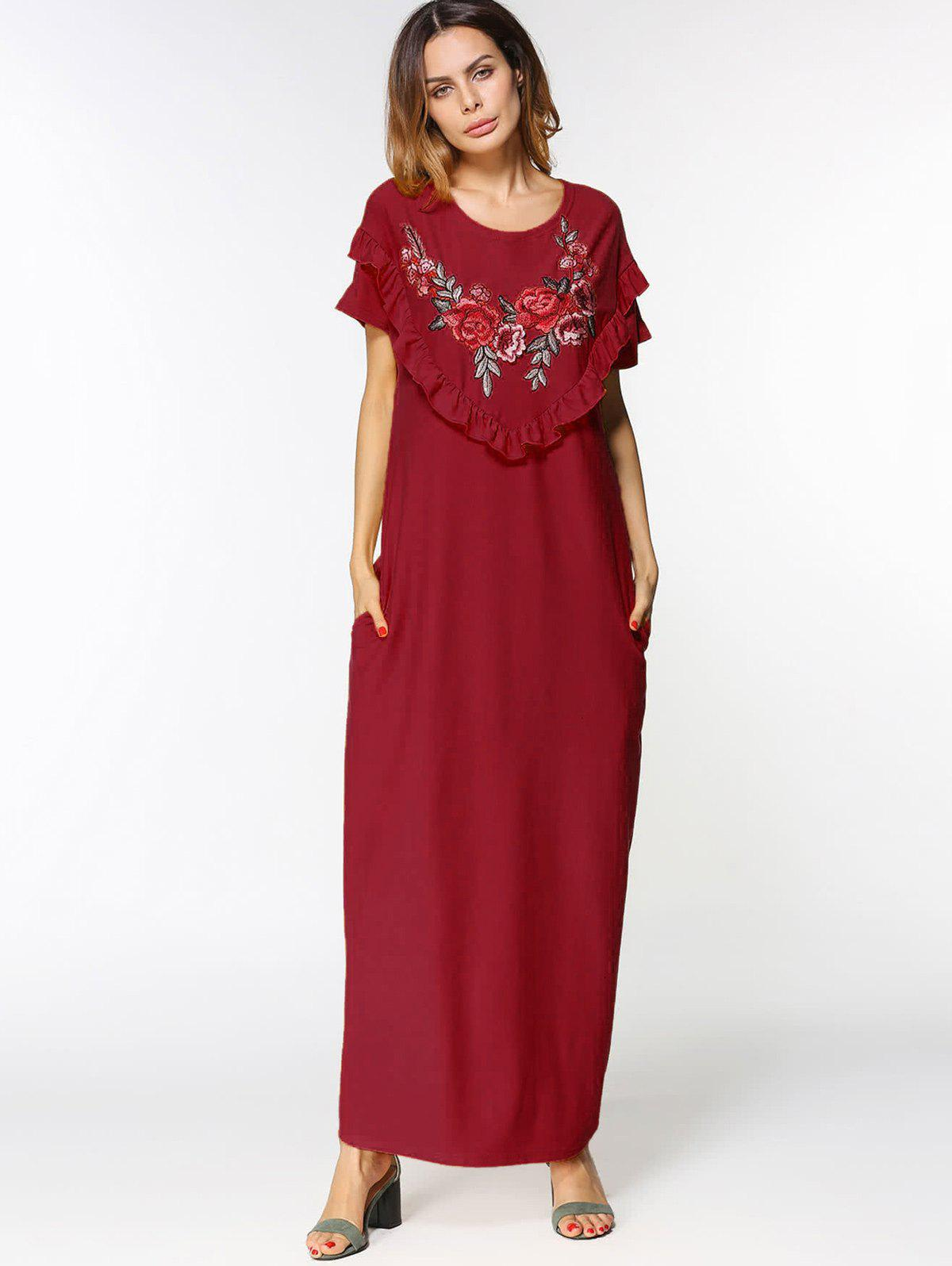 Unique Floral Embroidered Ruffles Maxi Dress