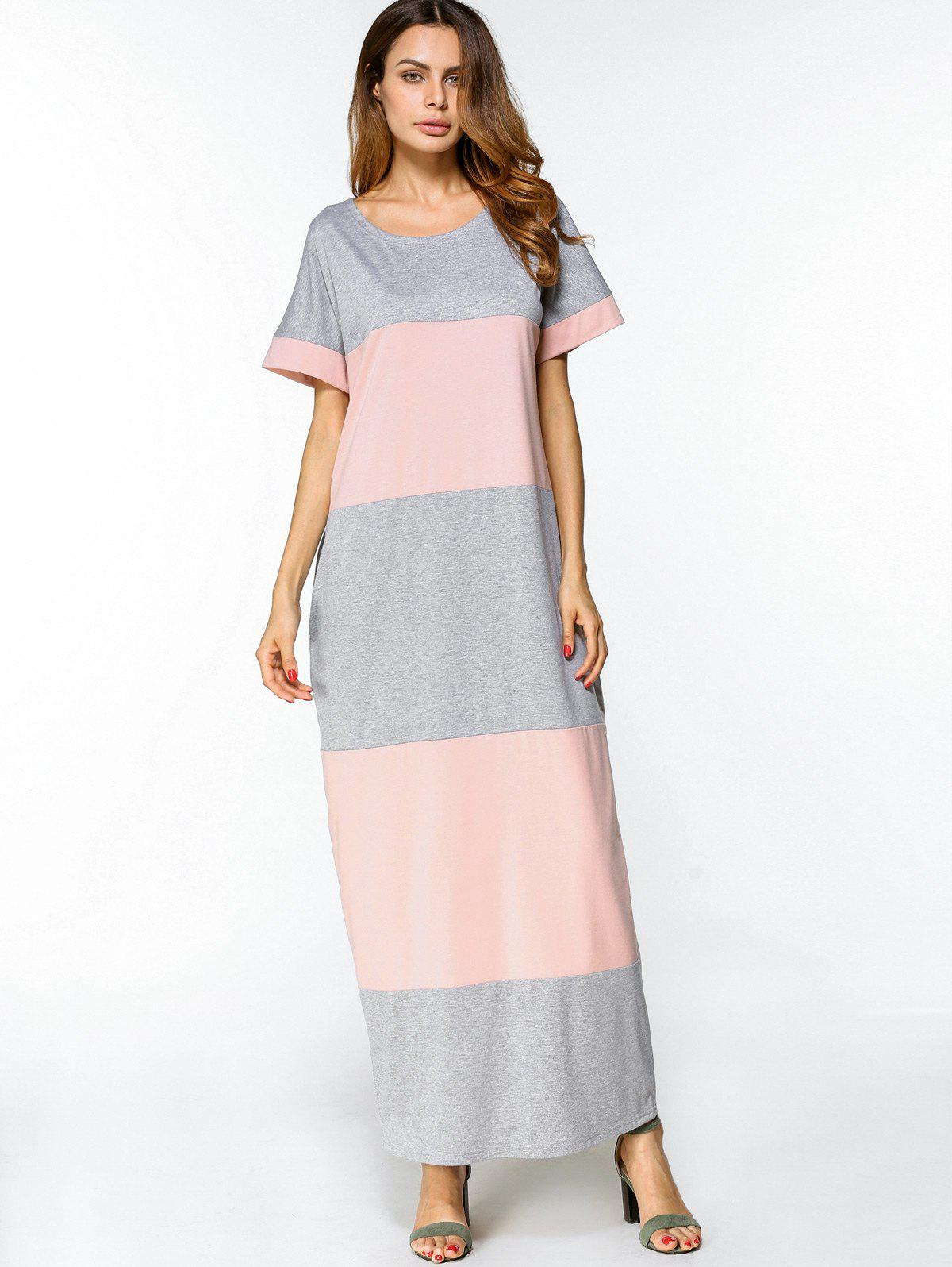 Affordable Two Tone Casual Maxi Tee Dress
