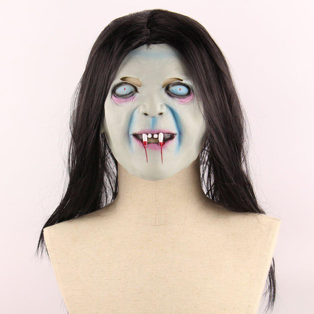 Fancy Horrible Ghost Printed Halloween Mask With Wig