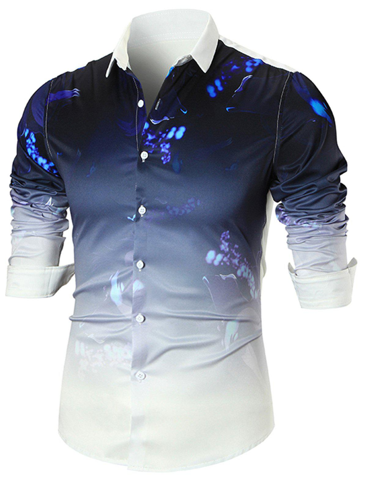 Splatter Paint Dip-dye Long Sleeve ShirtMEN<br><br>Size: L; Color: WHITE; Shirts Type: Casual Shirts; Material: Polyester; Sleeve Length: Full; Collar: Turn-down Collar; Pattern Type: Print; Weight: 0.3100kg; Package Contents: 1 x Shirt;