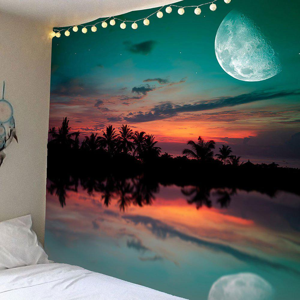 Sunset Glow Pattern Waterproof Wall Art TapestryHOME<br><br>Size: W79 INCH * L71 INCH; Color: COLORMIX; Style: Natural; Theme: Landscape; Material: Velvet; Shape/Pattern: Plant; Weight: 0.3900kg; Package Contents: 1 x Tapestry;