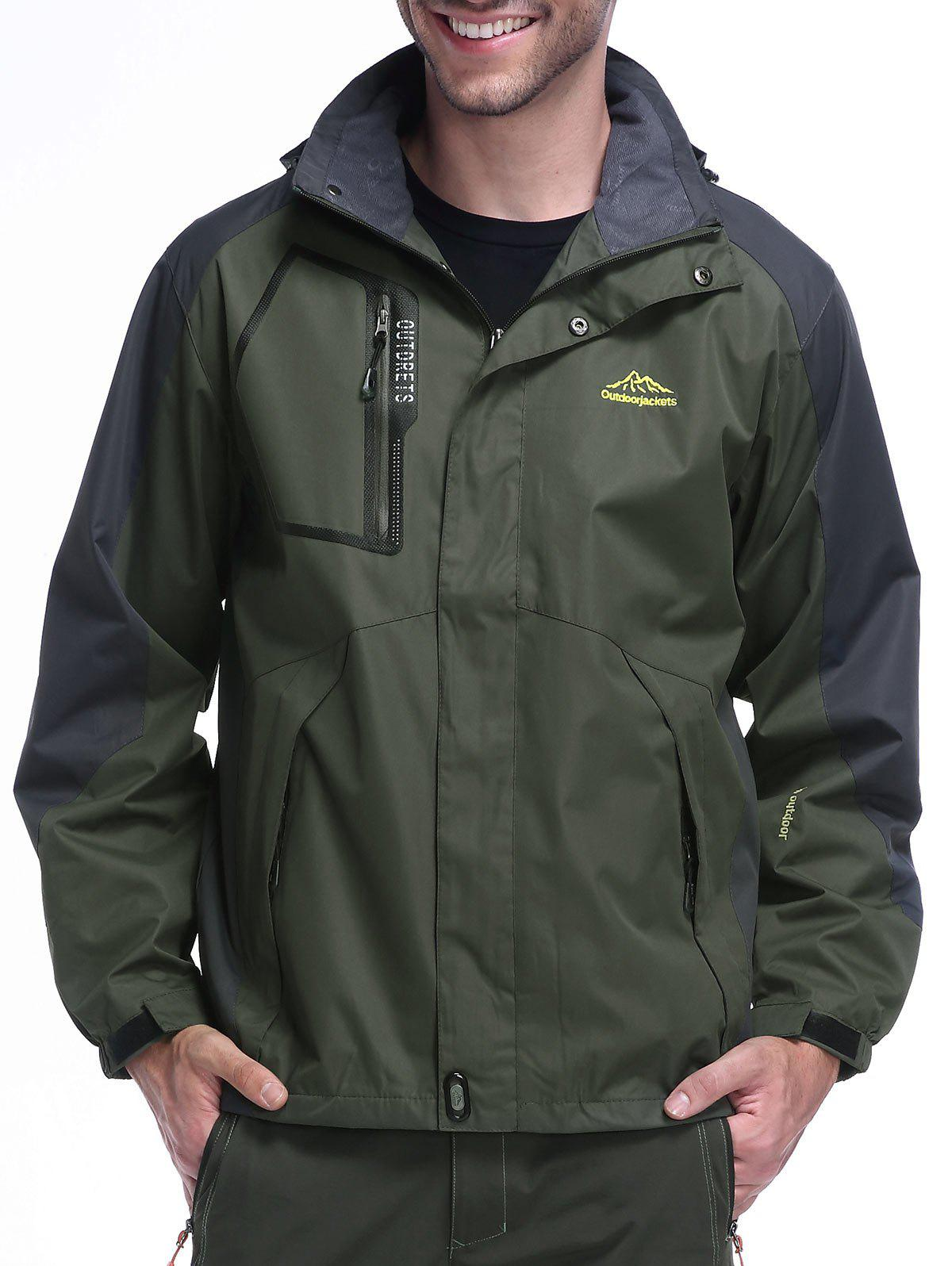 Cheap Detachable Hood Zip Pocket Track Jacket