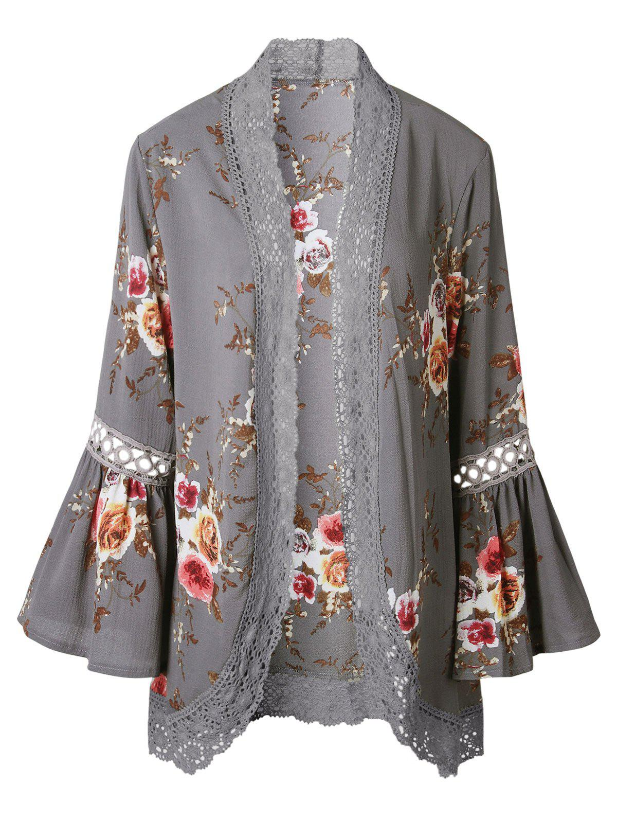 Cheap Hollow Out Lace Insert Flare Sleeve Kimono