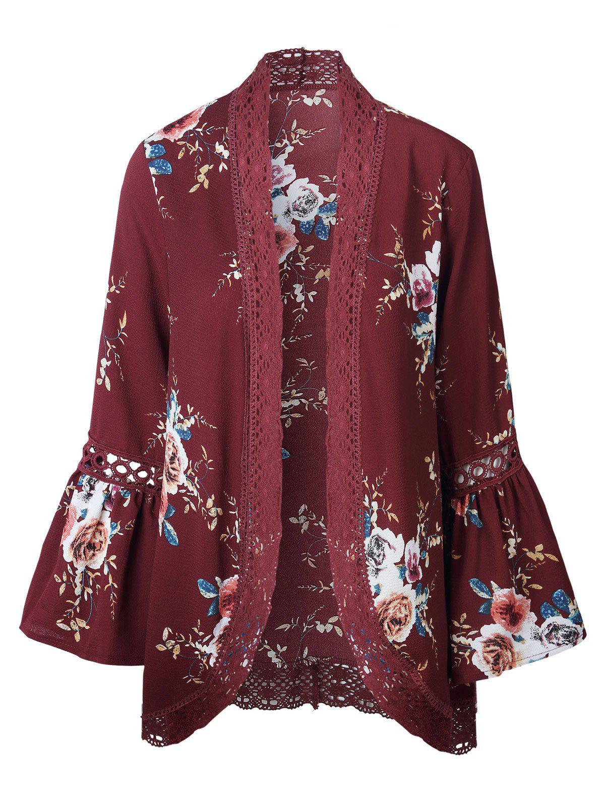 Outfits Hollow Out Lace Insert Flare Sleeve Kimono