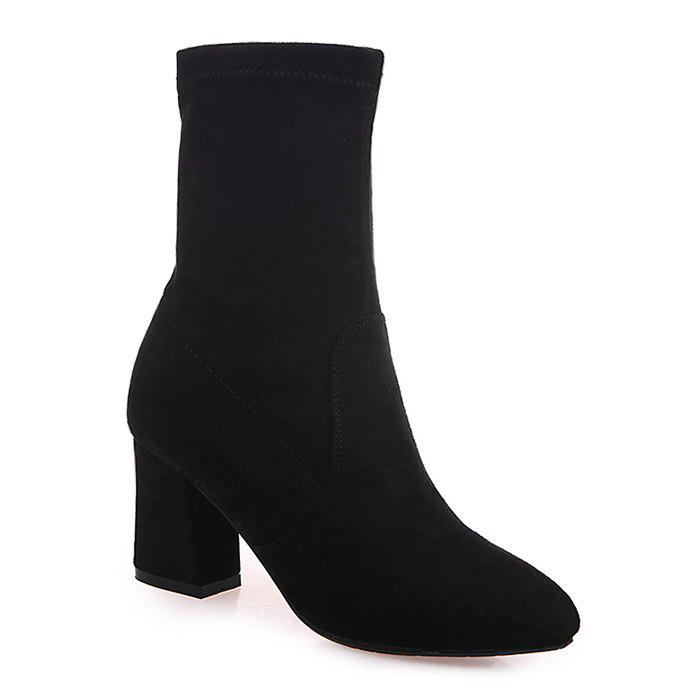 Chic Pointed Toe Block Heel Short Boots