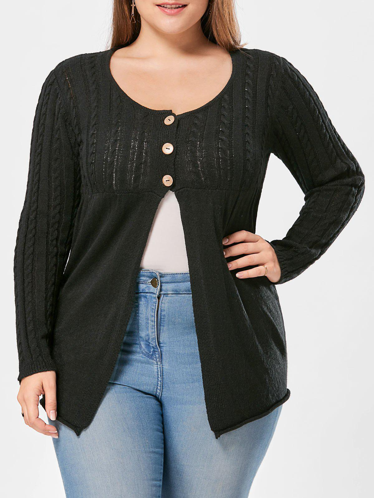 Outfits Plus Size Button Detail Cable Knit Cardigan