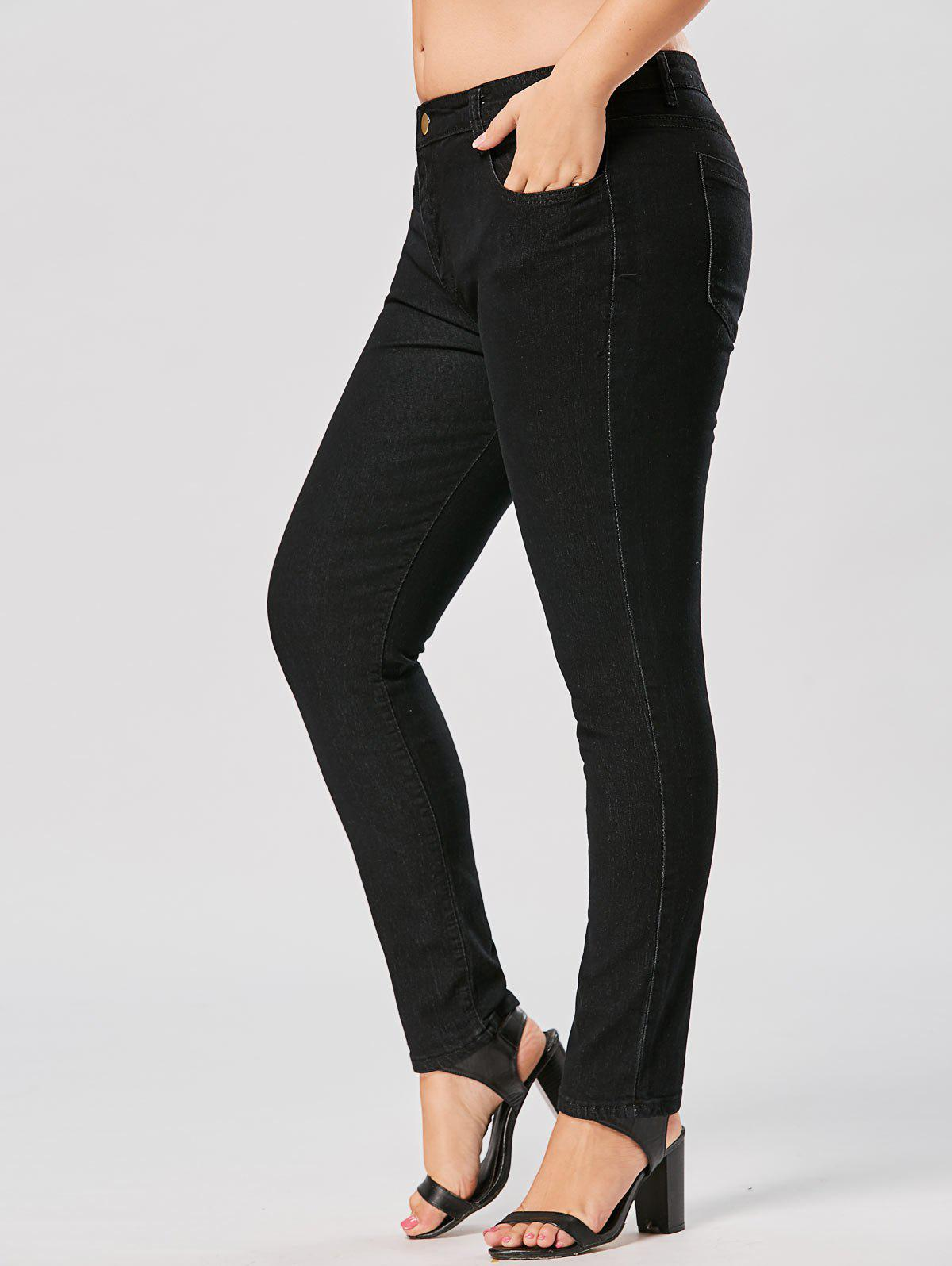 Plus Size Stretch Skinny JeansWOMEN<br><br>Size: 3XL; Color: BLACK; Style: Casual; Length: Ninth; Material: Jeans; Fabric Type: Denim; Fit Type: Skinny; Waist Type: Mid; Closure Type: Zipper Fly; Pattern Type: Solid; Embellishment: Pockets; Pant Style: Pencil Pants; Elasticity: Elastic; Weight: 0.6400kg; Package Contents: 1 x Jeans;