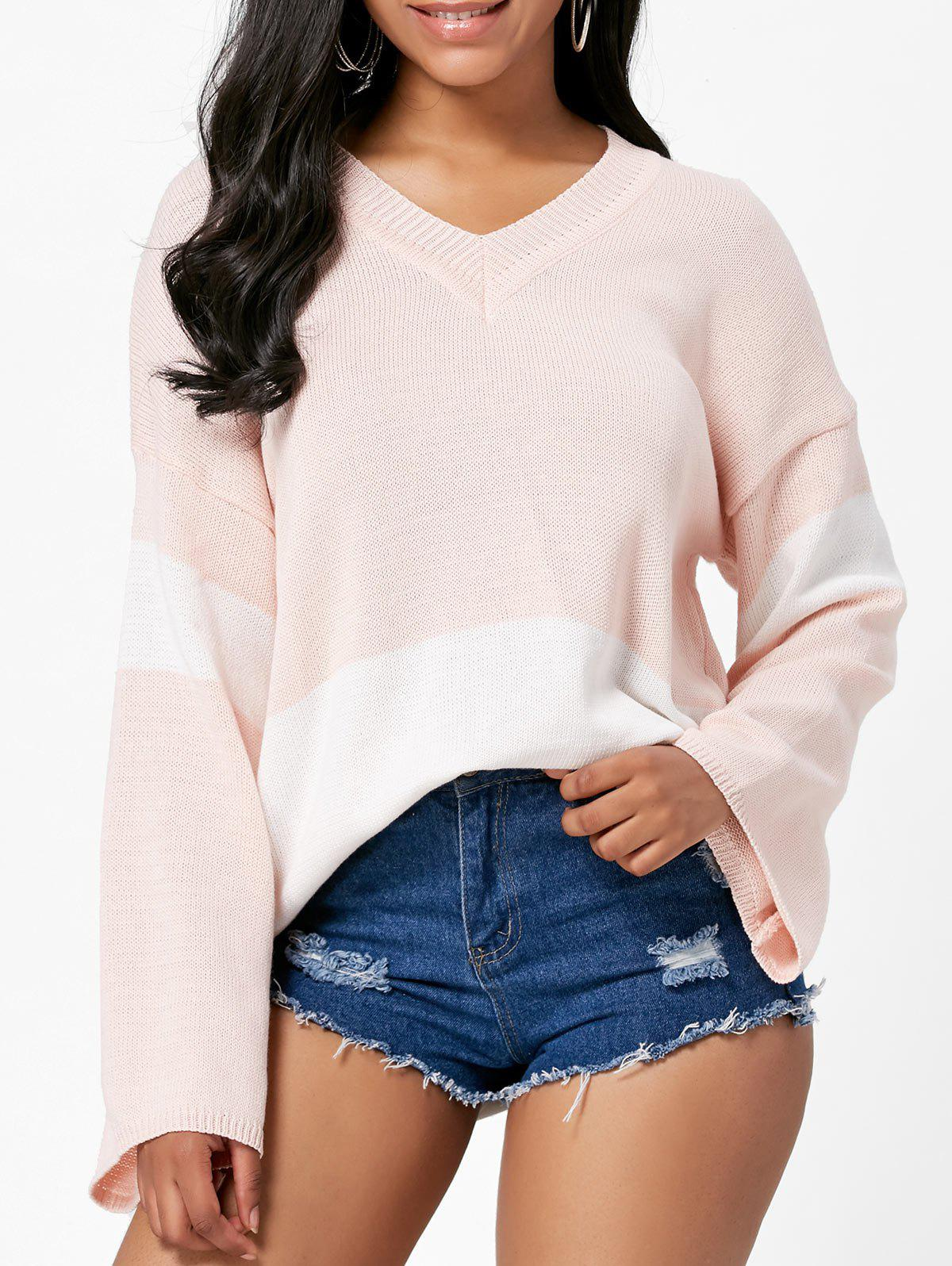 Cheap V Neck Boyfriend Color Block Sweater