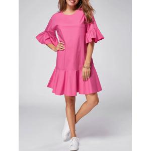 Ruffle Flare Sleeve Drop Waist Dress