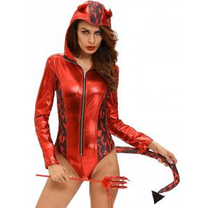 Devil Halloween Cosplay Bodysuit - Red - L