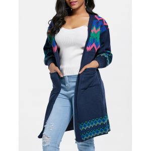 Pockets Ethnic Jacquard Cardigan