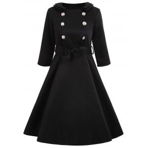 Vintage Buttoned A Line Dress with Belt