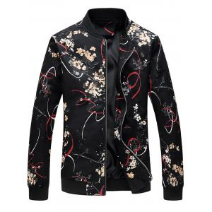 Stand Collar Floral Print Jacket - Colormix - 4xl