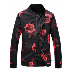 Flower Print Zipper Jacket