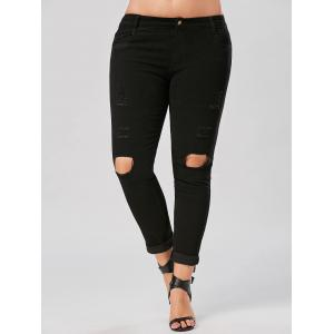Slim Fit Plus Size Destroyed Jeans - Black - 3xl
