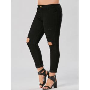 Slim Fit Plus Size Destroyed Jeans - Noir 4XL