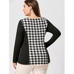Plus Size Lace Up Long Sleeve Plaid Top - CHECKED 2XL