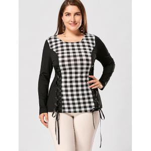 Plus Size Lace Up Long Sleeve Plaid Top - CHECKED 3XL