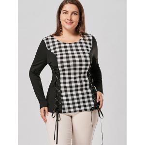 Plus Size Lace Up Long Sleeve Plaid Top - CHECKED 4XL