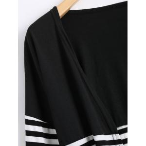Long Two Tone Striped Panel Cardigan - BLACK XL