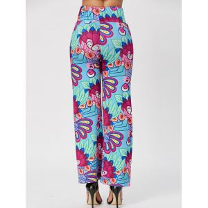 Fashionable Elastic Waist Loose-Fitting Printed Women's Exumas Pants - COLORMIX S