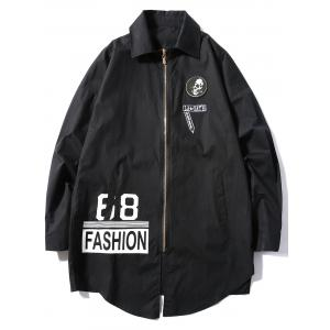 Appliques Graphic Print Zip Up Longline Jacket