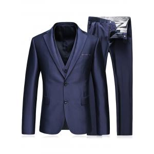 Single Breasted Slim Fit Balzer Three-Piece Suit - Blue - 3xl