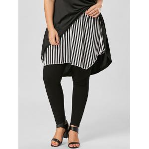 Plus Size Striped Asymmetrical Skirt - Black Stripe - Xl