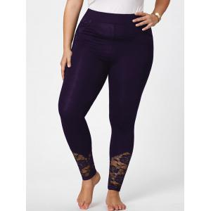 Plus Size Lace Insert Fitted Pants