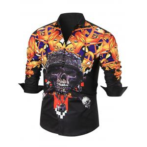 Skull Printed Long Sleeve Shirt - Black - L