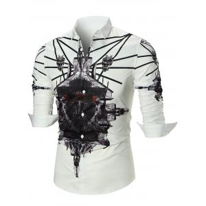 3D Print Long Sleeve Shirt - White - L