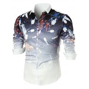 Abstract Print Long Sleeve Shirt - White - L